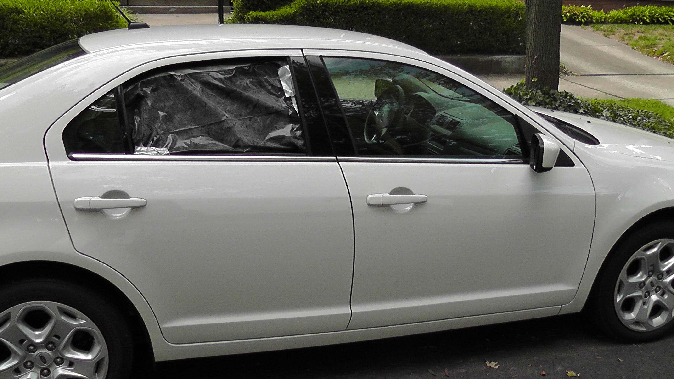 A Black Garbage Bag Is Substitute Windowing For My Car Until Tomorrow Morning When The Glass Repair Men Come Maybe I Should Put Over